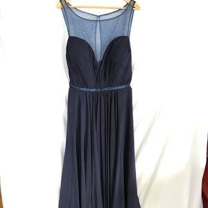 Midnight Blue Sweetheart Neckline Chiffon Gown